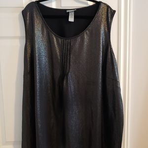 Black with silver, sleeveless top 4x
